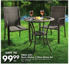Resin Wicker 3 Piece Bistro Set from Big Lots $99.99 (9% Off) -