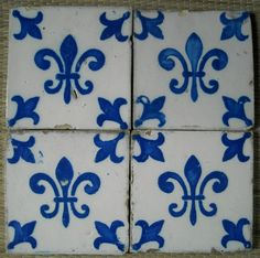 ¤ Desvres. 19th centuey french tiles. Mark Fourmaintraux Hornoy fabricant rue des Potiers. DESVRES