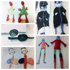 Bonecos em feltro feitos à partir do desenho das crianças.