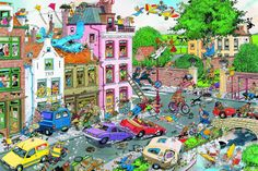 550 piece cartoon jigsaw puzzle by Jan van Haasteren is part of the Cartoon Capers series by Ceaco. Writing Pictures, Picture Writing Prompts, Cartoon Puzzle, Wheres Wally, Puzzle Art, Hidden Pictures, Friday The 13th, Teaching Spanish, Teaching English
