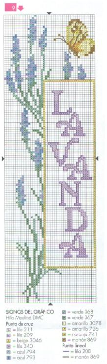 Lavender Bookmark #2 • Chart and Colour Key
