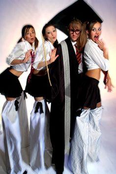 School Master & School Girl Stilts. Big Foot Events