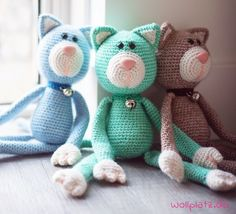 Baby Knitting Patterns Toys Cuddling cuddly toys makes you happy. This cute kitty crochet from Yarn … Chat Crochet, Crochet Cat Toys, Crochet Cat Pattern, Crochet Gratis, Crochet Animals, Crochet Dolls, Free Crochet, Ravelry Crochet, Crochet Free Patterns