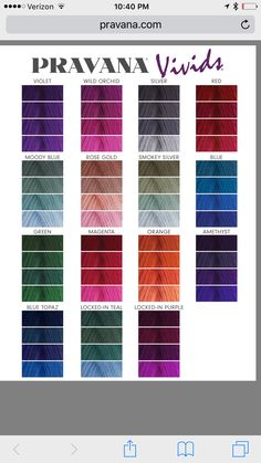 Pravana Vivids color chart - All For Hair Color Balayage Vivid Hair Color, Hair Dye Colors, Hair Color Shades, Hair Color Dark, Cool Hair Color, Hair Dye Color Chart, Green Hair, Purple Hair, Pravana Hair Color
