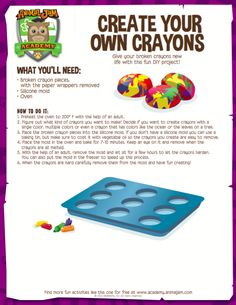 Give old crayons new life by recycling them and making your own crazy, multi-colored creations! Just follow this simple steps in this week's Animal Jam Academy craft - free to print and download! Have fun and PLAY WILD!