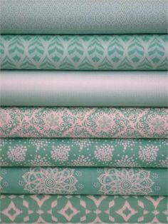 Camelot Cottons, Mint to Be, Mint in FAT QUARTERS 7 Total