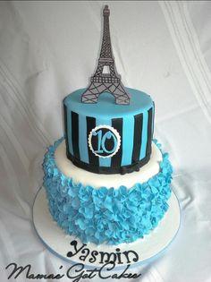 Eiffel Tower 10th birthday cake. Tiffany blue, black & white colors. ~Mama's Got Cakes~