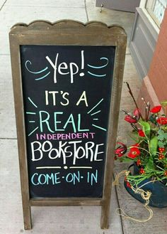 A real independent bookstore! Out West Books ~ Grand Junction, CO Indie Books, Book Cafe, Chalkboard Signs, Chalkboard Ideas, World Of Books, Store Signs, Book Nooks, I Love Books, Book Nerd