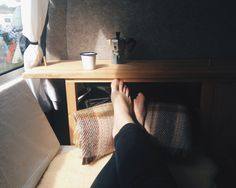 Relaxing in our hand-built VW T4, Transporter, Eurovan camper. Photo by Boo Bear Bean.