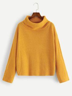 869d78e61870f Drop Shoulder Solid Jumper -SheIn(Sheinside) Fall Sweaters