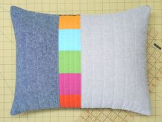 Modern Lumbar Pillow Linen Triptych Blue by bperrino on Etsy