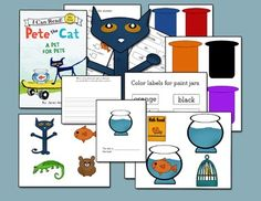 Eleven pages of materials to accompany the book Pete The Cat A Pet For Pete by James Dean.  Pages include characters and props from the story (my own designs), multiple choice and yes/no questions, prepositions...above/below  in/out, on/off,  write your own story paper, and matching name to correct color.