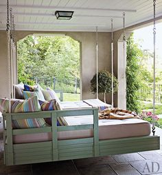 Porch bed and swing in mint..via Tumblr particles of larger loves...
