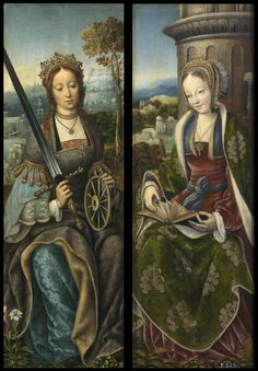 1510-1520 Master of Frankfurt - St. Catherine, St. Barbara (wings of tryptich)