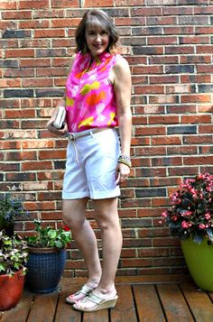 pineapples, pink, white shorts, wedges Silvergirl