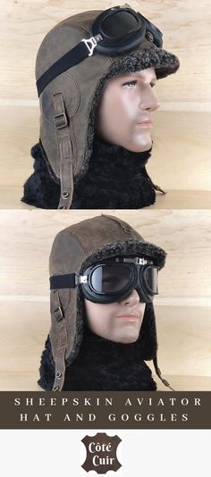 Men's Sheepskin Hat, Grey Shearling Aviator Pilot Hat, Trapper Cap, Ushanka Bomber Style Hat, Real Leather Old Brown Color Real Leather, Brown Leather, Aviator Hat, Space Fantasy, Winter Hats For Men, Hat For Man, Motorcycle Helmet, Aviation, Campaign