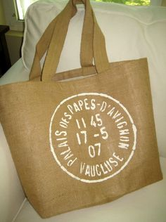 French Burlap Reusable Shopping Tote Bag by frenchcountrydesigns
