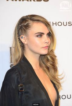 Cara Delevinge. French braid mimicking the half shaved style