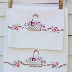 "Güzelmiş ""Vintage Pillowcases Embroidered Pillowcases by WhimzyThyme on Etsy"", ""Vintage Pillowcases - brings me back to my childhood. Embroidery with Gr Vintage Embroidery, Ribbon Embroidery, Cross Stitch Embroidery, Embroidery Patterns, Machine Embroidery, Embroidered Pillowcases, Embroidered Towels, Blue And Purple Flowers, Pink Blue"
