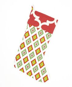 This Red & Cream Diamond & Ikat Stocking by Caught Ya Lookin' is perfect! #zulilyfinds