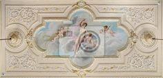 Fototapete Deckenfresko mit Figur einer Frau und zündete Engel