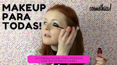"""Meu dia de trabalho começou e termina (a essa hora!) com essa inspiração: uma youtuber que dá ficas de maquiagem para quem tem deficiência visual. #repost @cosmethica: A maquiagem faz parte de muitas mulheres para para valorizar a beleza e melhorar a autoestima mas como uma pessoa portadora de deficiência visual pode se maquiar? Falamos mais detalhadamento no blog  http://ift.tt/2cYZuA9 #CosmethicaAcessível: Foto da capa da YouTuber Lucy Edwards aplicando rímel. O texto está escrito """"Makeup…"""
