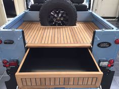 Tophat restored Defender 90 with bikini top and teak wooden rear deck Land Rover Defender Interior, Land Rover Defender 110, Defender 90, Motorhome, Land Rover Series 3, Best 4x4, Automobile, Truck Bed, Range Rover