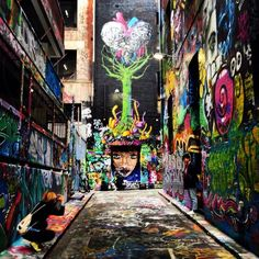 MoVida, Melbourne, Australia — by Kristin Rust. Melbourne is the cultural capital of Australia with art oozing out of its pores. Just walk the many alleyways and be. Graffiti Murals, Street Art Graffiti, Australia Travel, Melbourne Australia, South Australia, Brisbane, Graffiti Pictures, Cultural Capital, Joker Art
