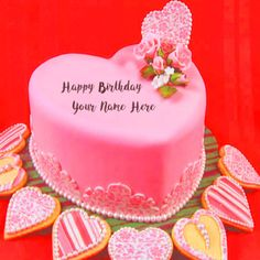 Write Name Pink Heart Look Birthday Cake Wishes Pictures. Custom Name Heart HBD Cake Photo Editing. Print My Name Pink Bday Cake Image Profile