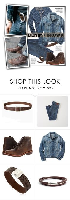 """Denim & Brown"" by gracekathryn ❤ liked on Polyvore featuring Abercrombie & Fitch, Chippewa, Gap, Montblanc, Torino, men's fashion, menswear, mens and MensFashion"
