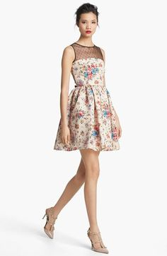 RED Valentino Flower & Polka Dot Print Dress | Nordstrom