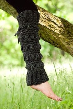 You'll need to know how to make a single crochet Black Crochet Leg Warmers with Heart Pattern in Vertical Stripes that reach over the knees. Description from hantooxo.com. I searched for this on bing.com/images
