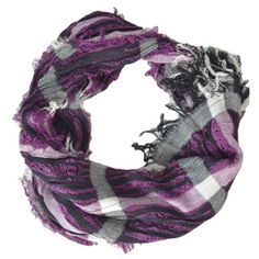 Purple Plaid Crinkled Scarf