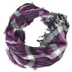 Purple Plaid Crinkled Scarf
