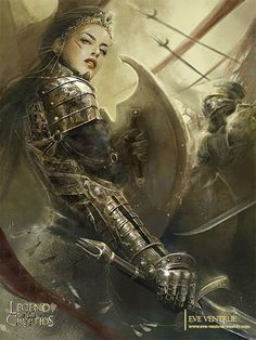 LOC Goddess of Victory by Eve Ventrue - Fantasy art. Fantasy Warrior, Warrior Girl, Warrior Princess, Warrior Women, Fantasy Women, Fantasy Girl, Dark Fantasy, Character Portraits, Character Art