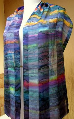 Hand-painted Silk Scarf Silkworth hand painted scarf by Silkworth