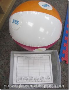 Modify for Pre K. Put letters on the ball instead. This center was a hit! The children sat on the floor and tossed the ball to one another. They wrote the word that their hand was closest too. Kindergarten Centers, Kindergarten Reading, Teaching Reading, Teaching Ideas, Learning, Literacy Stations, Literacy Activities, Literacy Centers, Sight Word Practice