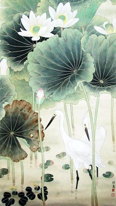 当代画家喻继高工笔花鸟作品选 I would love this in my bathroom. Japanese Painting, Chinese Painting, Lotus Painting, Lotus Art, Art Asiatique, Art Japonais, Korean Art, China Art, Japan Art