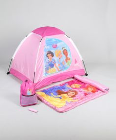 It's time for a slumber party and all the Disney princesses are invited. Hunker down in the pretty pink sleeping bag and matching tent, but don't forget the s'mores! Includes tent, sleeping bag, backpack and flashlightTent: x bag: W x HPolyester / cotton Elmo Toys, Camping Set, Girl Thinking, Disney Toys, Slumber Parties, Sleeping Bag, Happy Campers, Toys For Girls, Toddler Toys