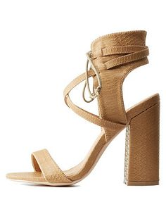 72b556551ca9c7 Caged Lace-Up Chunky Heel Sandals  Charlotte Russe Nude Sandals