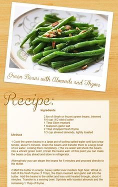 Green Beans with Almonds and Thyme recipe