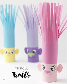 Craft your own Trolls - of toilet rolls! - Crafts Company - Simple fun crafts for children and adults Toilet Paper Roll Crafts, Paper Crafts For Kids, Fun Crafts, Creative Crafts, Easy Crafts For Kids, Summer Crafts, Craft Activities For Toddlers, Kids Toilet, Construction Paper Crafts