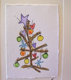 Watercolor Card Christmas ee cummings little by betrueoriginals