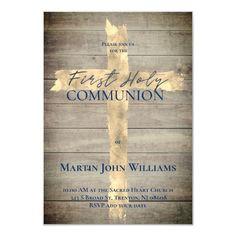 Faux gold foil cross on wood First Communion Invitation   Zazzle.com