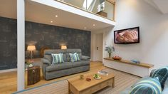 The open plan sitting area at Ferry Cottage, Brixham, Devon © Mike Henton Cottages Uk, Riverside Cottage, Sitting Area, Contemporary Interior, Open Plan, Devon, Places, Wall, Living Room