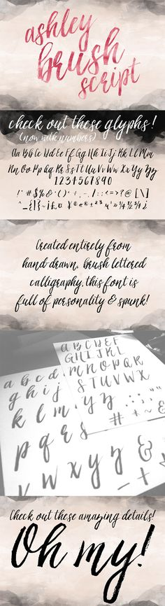 Ashley Brush Script Font by Printable Wisdom | 22 Professional & Artistic Fonts Apr 2015