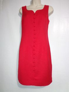 RED Sleeveless DRESS Donna Ricco size 10P Sexy Sweetheart Neck  Linen #DonnaRicco #Shift #Cocktail