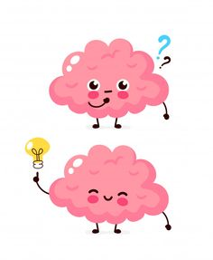 Cute Brain With Question Mark And Lightbulb Character. Brain Vector, Chemistry Art, Biology Art, Learning Support, Bullet Journal Writing, Sketch Notes, Cute Clipart, Question Mark, Cool Stickers