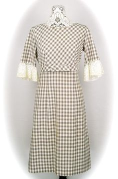 1960s brown plaid cotton dress  60s brown by 86CharlotteStreet, $79.00