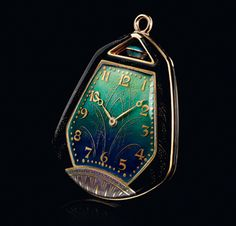 """Movado - 1925 - An elegant cushion-shaped Movado Pocket Watch with highly decorative, hand-enameled gold case is created for the """"Exposition des Arts Decoratifs"""" in Paris. Old Pocket Watches, Big Watches, Best Watches For Men, Luxury Watches For Men, Sport Watches, Cool Watches, Movado Watches, Perfume, Rolex Datejust"""